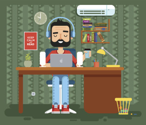 Stock vector illustration of character programmer, copywriter, gamer, freelancer, designer, man in headphones with beard at home, computer flat style element info graphic, website, game, motion design